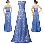 LACE Long Masquerade Evening Formal Dresses Prom Bridesmaid Wedding Gown Blue