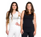 Thermals 2 Pack Ladies Cotton Thermal Singlet Vest Tops Black White Size 8-22