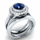 1.90 Ct Blue Round Cut 925 Sterling Silver Bridal Engagement Wedding Ring Set
