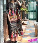 Europe New Multi Color Casual Loose Women Retro Printing Cotton and linen Dress