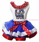 4th July America Flag LOVE White Top BWR Satin Trim Skirt Girls Outfit Set NB-8Y