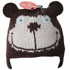 Babies Knitted Bear Beanie Ski Hat Trapper Style Warm Winter Hat For Girls Boys