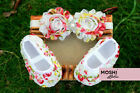 Baby Girl Floral Shoe and Headband Set White Pearl and Diamante by Moshi Babies