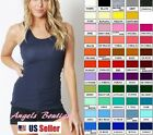 WOMEN COTTON  BASIC STRETCH RACER BACK RIB TANK TOP  Multi Color