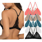 Floral Lace Racerback Triangle Bra Bralette Crop Top Cutout Bustier Band Sexy
