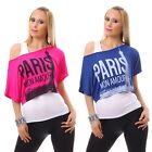Double Look Shirt Tunika Bluse Longtops Neon Oberteil Schulterfrei One Shoulder