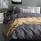 New Checked 100% Cotton Quilt Duvet Doona Cover Set Queen/King Size Bed Linen