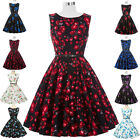 Retro Vintage Floral Swing Flared Cocktail Dress 50s 60s pinup Housewife Dresses