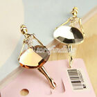 1PC Cute Ballet Girl Crystal Rhinestone Jewelry Brooch White Brown 4.8X2.3cm