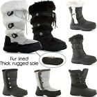 WOMENS LADIES FUR LINED QUILTED CALF FLAT KNEE HIGH WINTER SNOW BOOTS SHOES SIZE