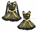 My 1ST Heart Father's Day Black Top Gold Bling Sequins Girls Skirt Outfit 1-8Y