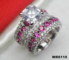 Asscher White & Pink Sapphire Sterling Silver 925 Engagement Wedding Ring Set