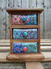 Hand Made Mango Wood Wooden Jewellery Spice Storage Box Holder Rack 6 Drawers