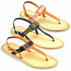 Ladies Womens Leather Flat Heel Slingback Summer Toe Post Sandals Shoes Size