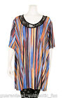 EDMOND DE PARIS MULTI ABSTRACT PRINT LACE NECK TUNIC plus size UK 18-22