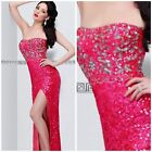 Primavera Couture beaded accented strapless gown with slit coral/silver msrp$432