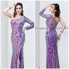 Primavera Couture Long-sleeve effervescent gown with allover sparkle purple $432