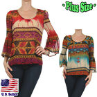 (PLUS SIZE) Stylish Tribal Inspired Print Blouse Long Bell Sleeves Tops B286_M