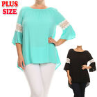 (PLUS SIZE) Solid Color Round Neck Crochet Bell 3/4 Sleeves Top Blouse B358 SD_M