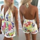 Women Halter Lace V-Neck Sleeveless Print Casual  Jumpsuit Romper Trousers ES9P
