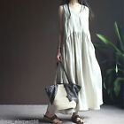 Plus Size Summer Women Linen Cotton Loose Maxi Dress Flax Dress White Dark Blue