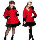 Hell Bunny Gothic Rockabilly Sarah Jane Coat Red Wool Mix Jacket Fur Trim Hood