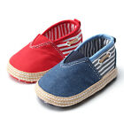 Baby Infant Toddler Canvas Soft Sole Sneaker Striped Crib Shoes Loafers 0-18M