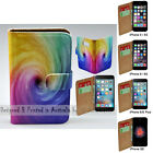 For iPhone 7 7 Plus SE 5 5s 6 6s Plus - Colourful Funnel Print Wallet Phone Case