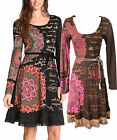 Desigual Saray Jersey Dress S-L 10-14 RRP£89 Long Sleeved Brown Black Hourglass