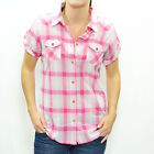 Roxy Women's Lisa Plaid S/S Casual Collared Shirt - SS11: Pink