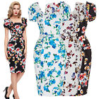 Ladies Floral Vintage Women Summer Casual Bodycon Wiggle Pencil Party Midi Dress