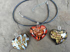 LAMPWORK/GOLDSAND GLASS HEART NECKLACE/PENDANT WITH BLACK NECKLACE CORD