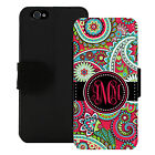MONOGRAMMED WALLET CASE FOR iPHONE 5 5S SE 6 6S 7 PLUS HOT PINK PAISLEY