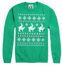 Riot Society Ugly Christmas Sweater Funny Green Crewneck Reindeer NWT