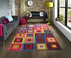 New Small Large Size Squares Soft Pile Bright Multi Coloured Floor Rugs Carpets