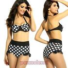 Bikini swimwear bathroom woman pinup high waist polka dot new two pieces DL-1011