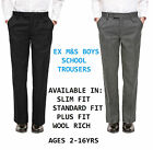 Ex M&S Boys Black Grey School Trousers Plus/ Slim Fit Wool Cargo Short Age 2-16