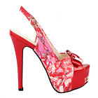 Fab Red Floral Bow PeepToe Slingback Stiletto Platform EVE Pump 2.5/3/4/5/6/7/8