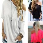 Fashion Women Sexy Short Sleeve Shirt Casual Blouse Loose Cotton Top T ES9P