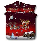 Santa Claus Quilt Doona Duvet Cover Set Queen King Size Christmas Bed Cover New