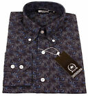 Relco Mens Navy Blue Paisley Print Long Sleeved Shirt NEW Mod Retro Vintage 60s
