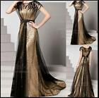 Lady Evening Dress Bride Prom Gown Lace Gold Formal Twinkl Long  Party Cocktail