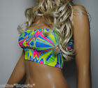 NEON UV BRIGHT LYCRA BOOB TUBE TOP STRAPLESS BANDEAU TRANCE CLUB RAVE PARTY W558