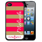 PERSONALIZED RUBBER CASE FOR iPHONE 5 5S 5C SE 6 6S PLUS HOT PINK TAN STRIPES
