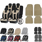 UAA All Weather CAR Rubber Mats & Dual-Stitch Racing Polyester Seat Covers Set