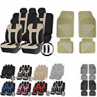 UAA Flex Carpeted CAR Rubber Mats & Dual-Stitch Racing Polyester Seat Covers Set