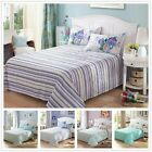 100% Cotton Double Queen King Size Flat Fitted Sheet Set Pillowcases Bed Linen