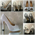 New Bride Bridal Wedding Bridesmaid Heels Prom Party Crystal Peep Toe Heels Lady
