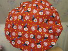 SNOWMEN AND FLAKES--men's tieback- OR BOUFFANT -SCRUB HAT/ MEDICAL /SURGICAL