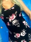 SOFT Brushed buttery Black Roses Floral tank top fitted Plus 1X 2X 3X